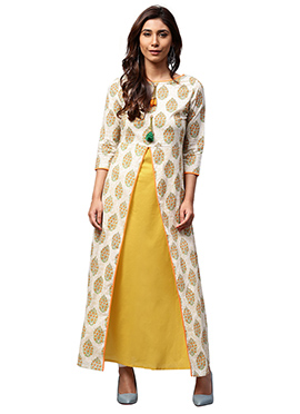 White N Yellow Cotton Kurti