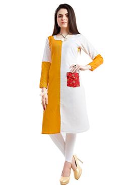 White N Yellow Cotton Kurti