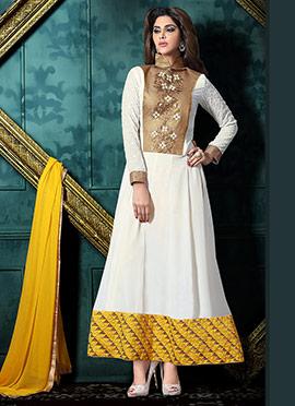 White N Yellow Georgette Anarkali Suit