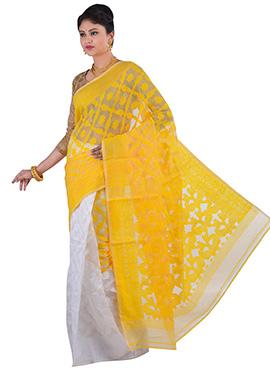 White N Yellow Jamdani Muslin Silk Half N Half Saree