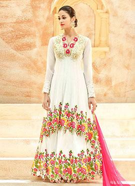 White Net Abaya Style Anarkali Suit