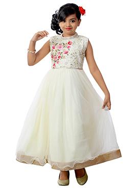 White Net Kids Gown