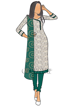White Net N Alpine Green Taffeta Churidar Suit