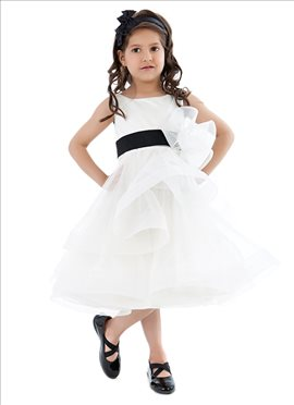White Net N Satin Kidology Indowestern Dress