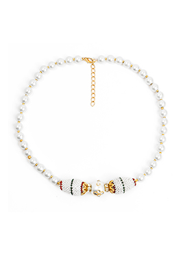 White Pearl Brass Necklace Set
