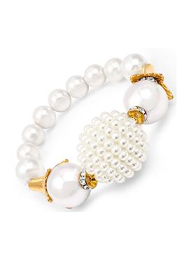 White Pearl Embellished Bracelet