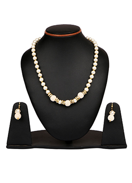 White Pearls N Stone Studded Necklace Set