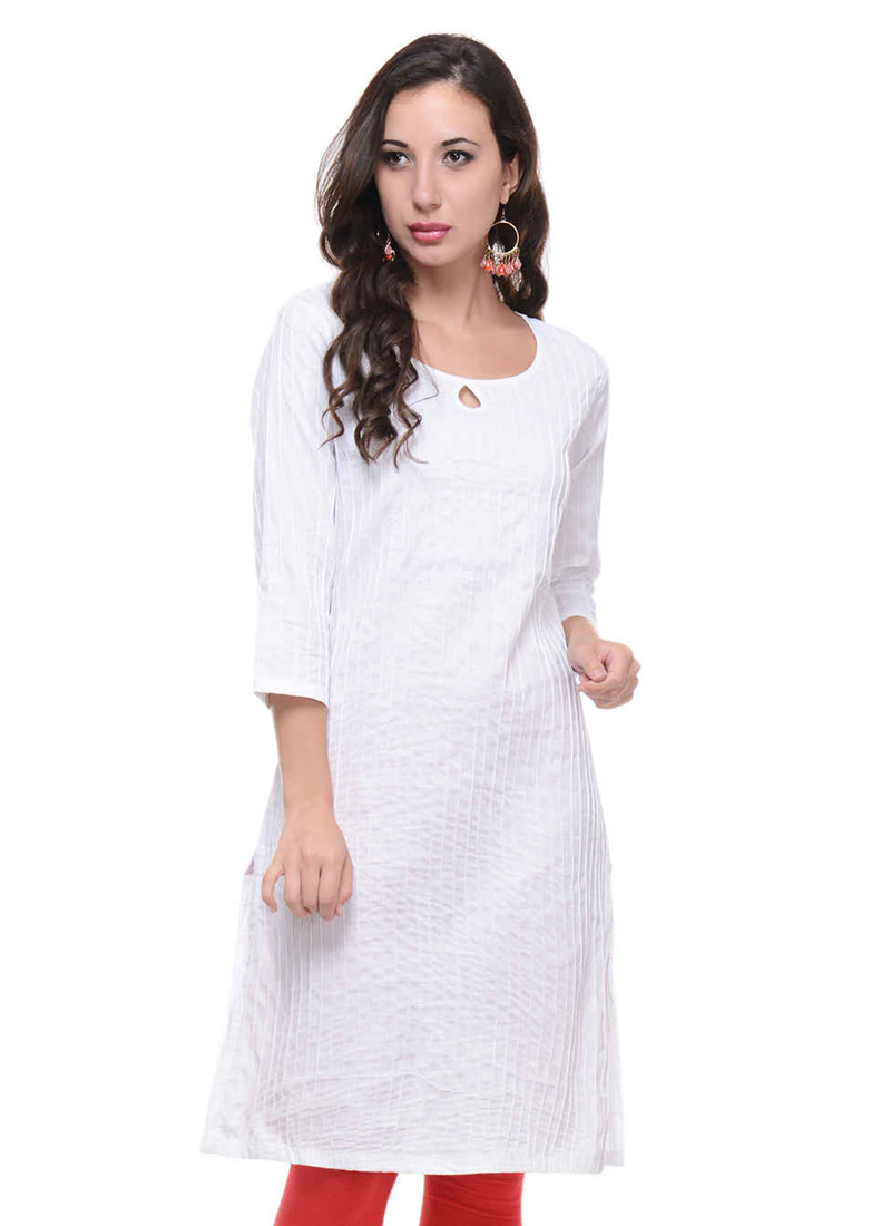 823d1b8798 Buy White Pintuck Kurti, After Six, knee length kurti Online Shopping ...