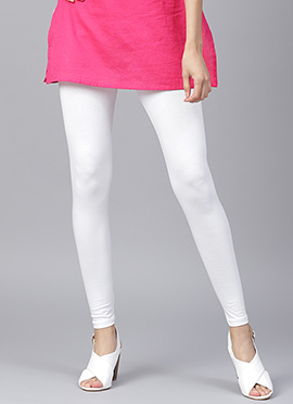 White Plain Leggings
