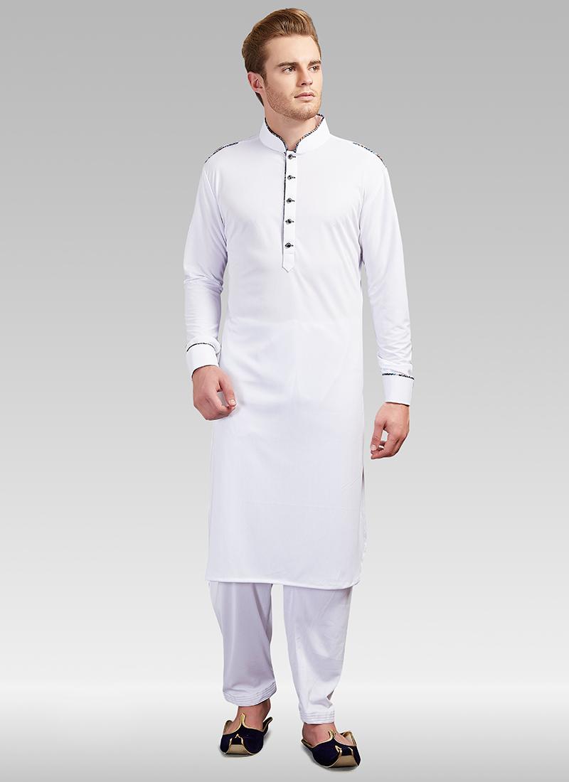 competitive price 16a07 bf691 Buy White Plain Lycra Kurta Pyjama Set, Lycra, kurta pyjama Online Shopping  | KPMGC3446