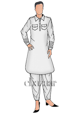 White Plain Pathani Set