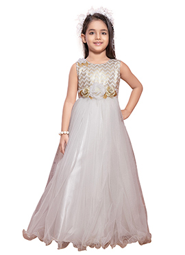 White Polyester Net Girls Gown