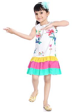 White Printed Kids Dress