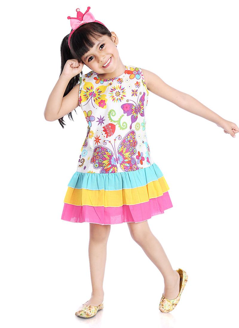 792f7ab9fd Buy White Printed Kids Dress, Printed, girls dress Online Shopping |  KDJLPFRKFR93BUT
