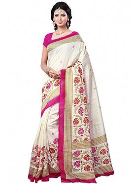White Printed Silk Saree