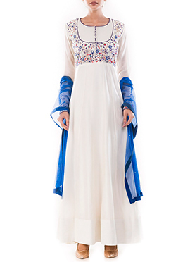 White Pure Chanderi Cotton Anarkali Suit