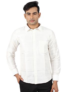 White Pure Dupion Silk Shirt
