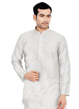 White Pure Silk Kurta