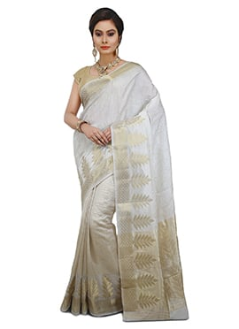 White Pure Silk Saree