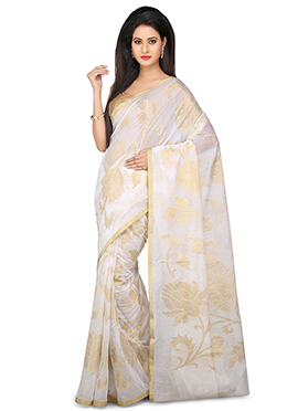 White Pure Silk Saree