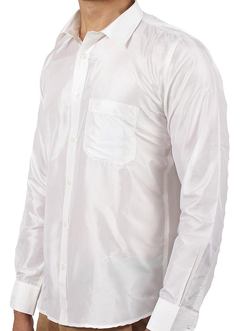 Buy White Pure Silk Shirt Shirt Online Shopping Stmbrtps001