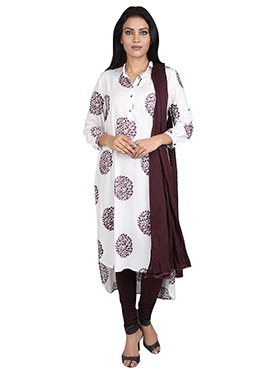 White Rayon Churidhar Suit