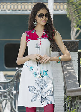 White Rayon Cotton Kurti