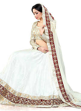 White Satin Art Silk Umbrella Lehenga Choli