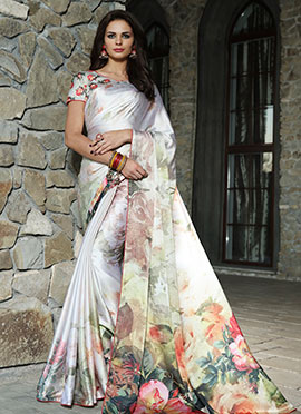 White Satin Blend Saree