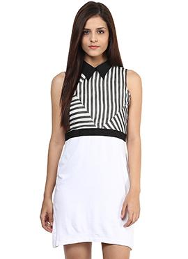 White Shakumbhari Striped Midi Dress