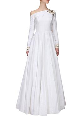 White Silk Anarkali Gown