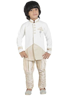 White Silk Blend Kids Sherwani
