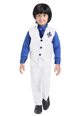 White Silk Blend Kids Suit