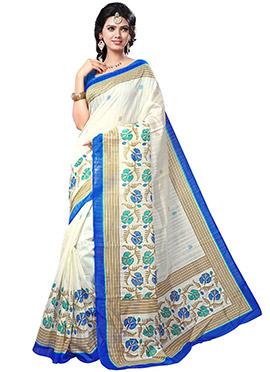 White Silk Printed Saree