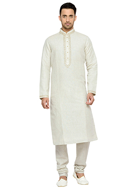 White Solid Patterned Pure Linen Kurta Pyjama