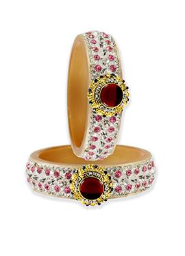 White Stone N Kundan Embellished Bangles
