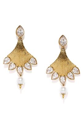 White Stones Studded Dangler Earrings
