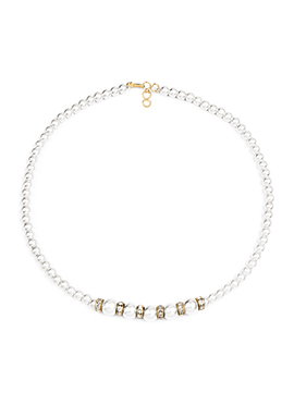 White Synthetic Pearl Brass Necklace Set