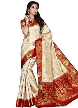 White Tussar Silk Saree