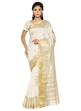 White Tussar Silk Saree