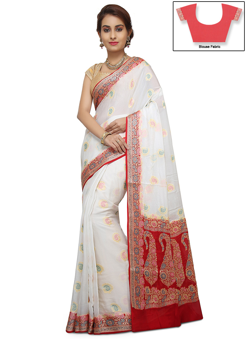001a79b3b5 Buy White Zari Pure Silk Saree, Zari, sari Online Shopping ...