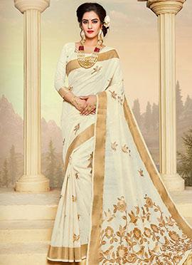 White Zari Woven Saree