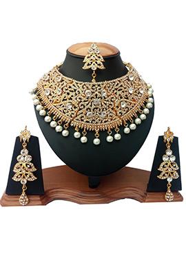 White Zircon Stone Choker Necklace Set
