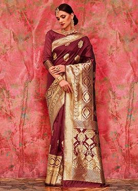 Wine Art Benarasi Silk Saree