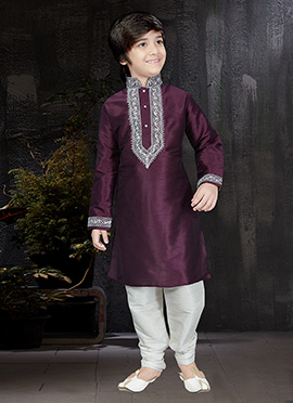 Wine Art Dupion Silk Kids Kurta Pyjama