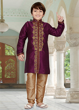 Wine Art Dupion Silk Teens Kurta Pyjama