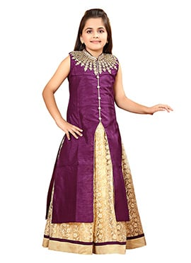 Wine Art Silk Kids Jacket Style Gown