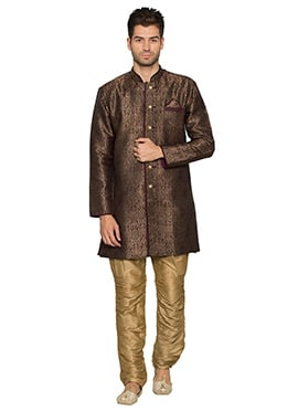 Gold N Wine Art Silk Kurta Pyjama