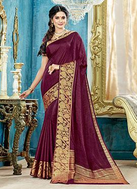 Wine Art Silk Saree
