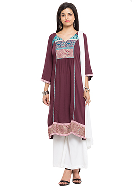 Wine Blended Cotton Palazzo Suit